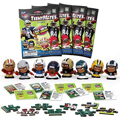 TeenyMates Party Animal 2018-19 NFL Series 7 Mini Figures Blind Bags Gift Set Party Bundle - 4 Pack (Football Teenymates)