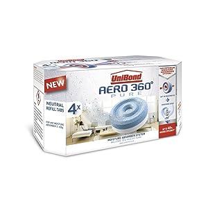Unibond 2106199 Aero 360 - Recambios de aromaterapia para absorbente de humedad (4 unidades), blanco