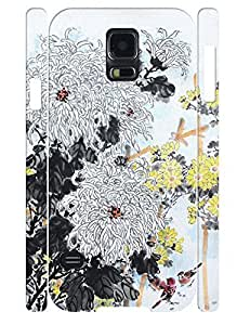 Cool Vivid Chinese Painting Flower Hard Plastic Cell Phone Cover Case for Samsung Galaxy S5 I9600