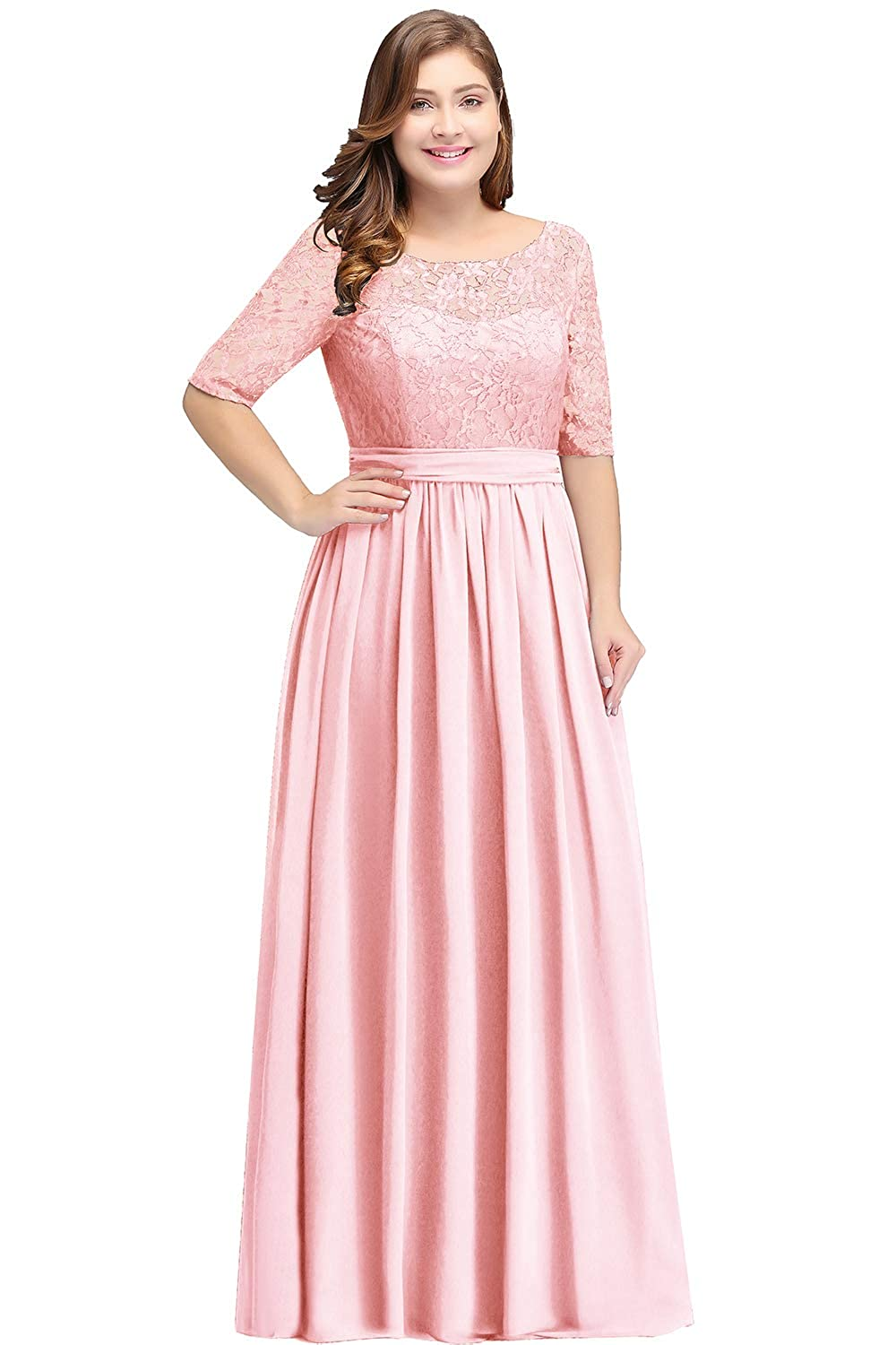 Babyonlinedress Simple Wedding Bridesmaid Dresses Long Chiffon Lace Plus Size Prom Formal Evening Gowns ZLCPS526