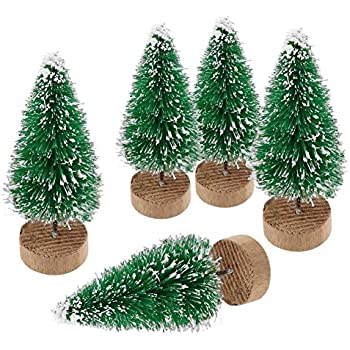 Goldenlight 10Pcs Artificial Mini Christmas Trees Mini Pine Tree Sisal Trees Miniature with Snow Wood Base Ornaments for Christmas Table Top Decor Winter Crafts (Green, 10Pcs - Height 4.5cm)