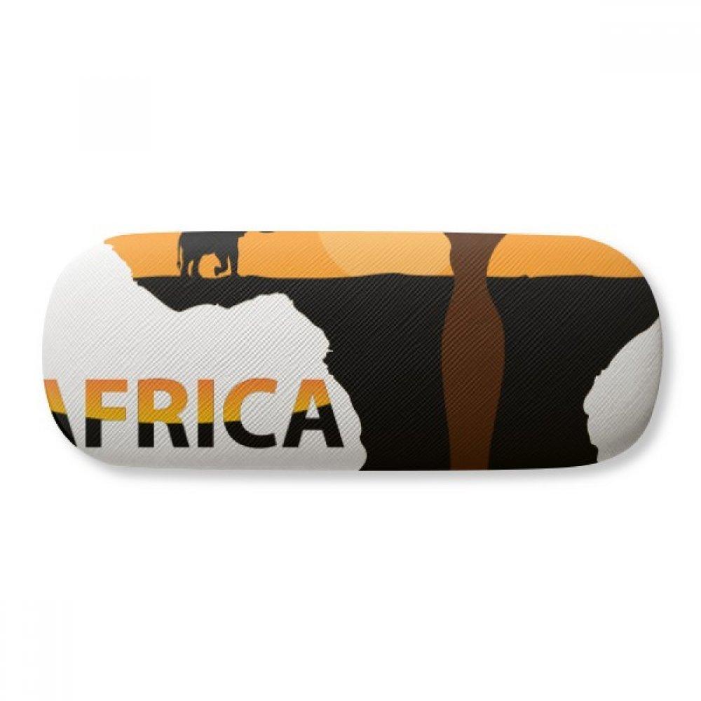 Africa Map Savanna Elephant Wildlife Glasses Case Eyeglasses Clam Shell Holder Storage Box