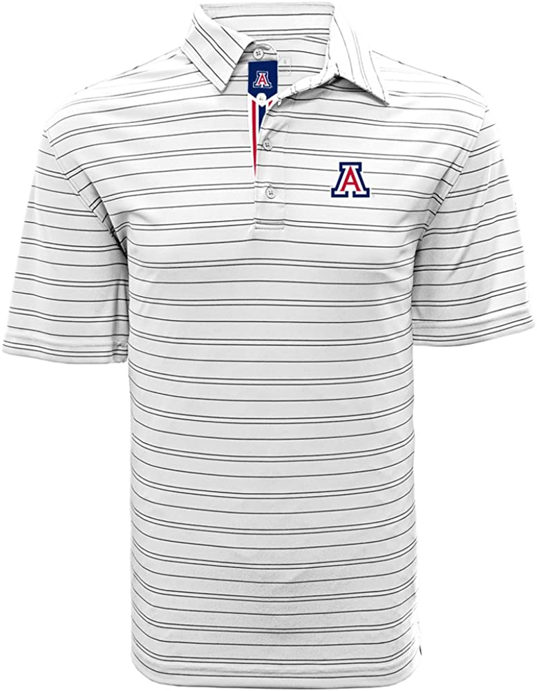 Medium White//Black Levelwear LEY9R NCAA Arizona Wildcats Mens Deion Banner Stripe Polo