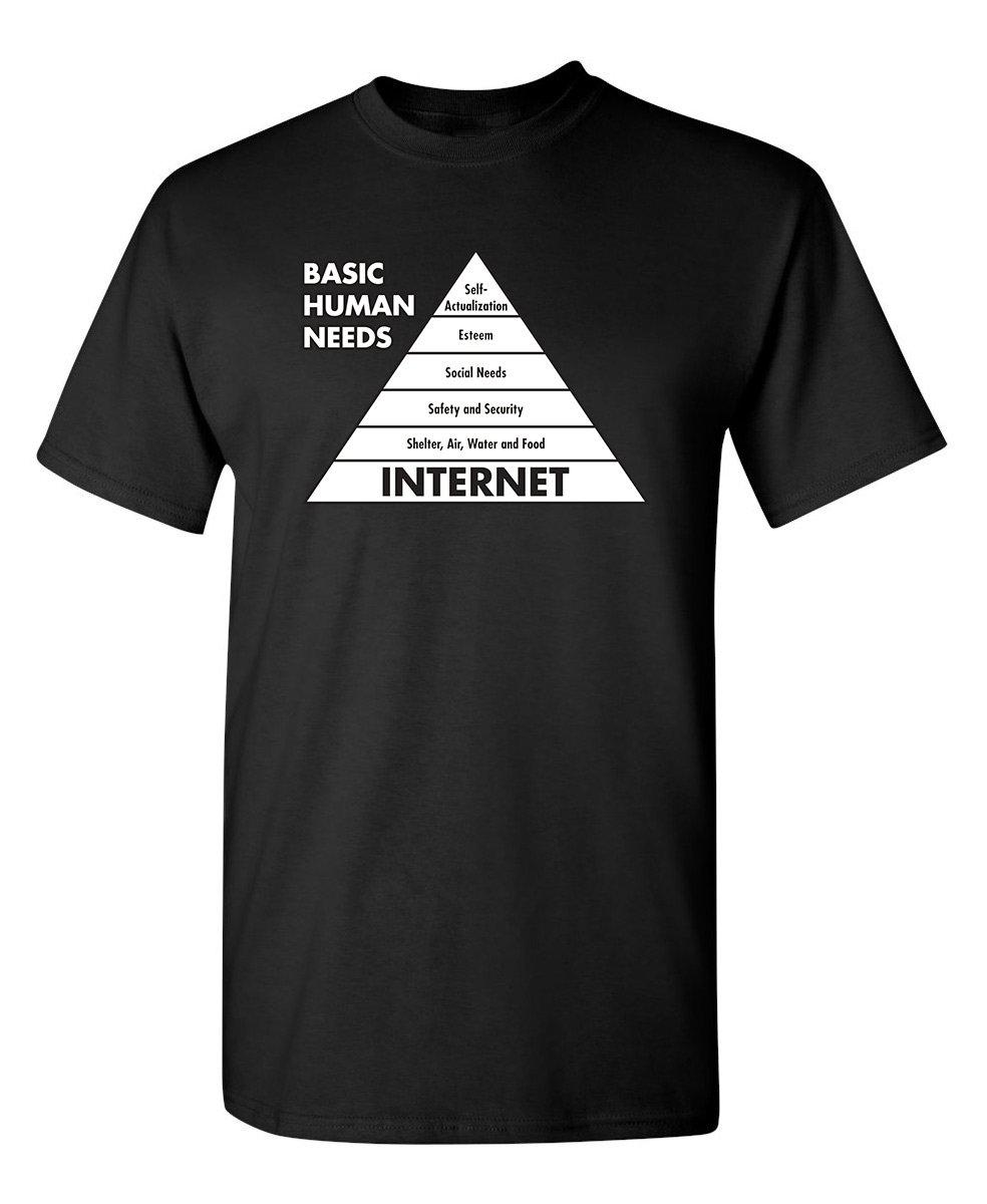 Basic Human Needs Internet Computer Sarcastic Humor S Very Funny T Shirt 1539