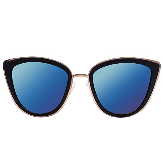 31c55f2390 VIVIENFANG Women s Flash Mirror Lens Oversize Polarized Cateye Sunglasses  P1891A Blue Mirror  Amazon.in  Clothing   Accessories