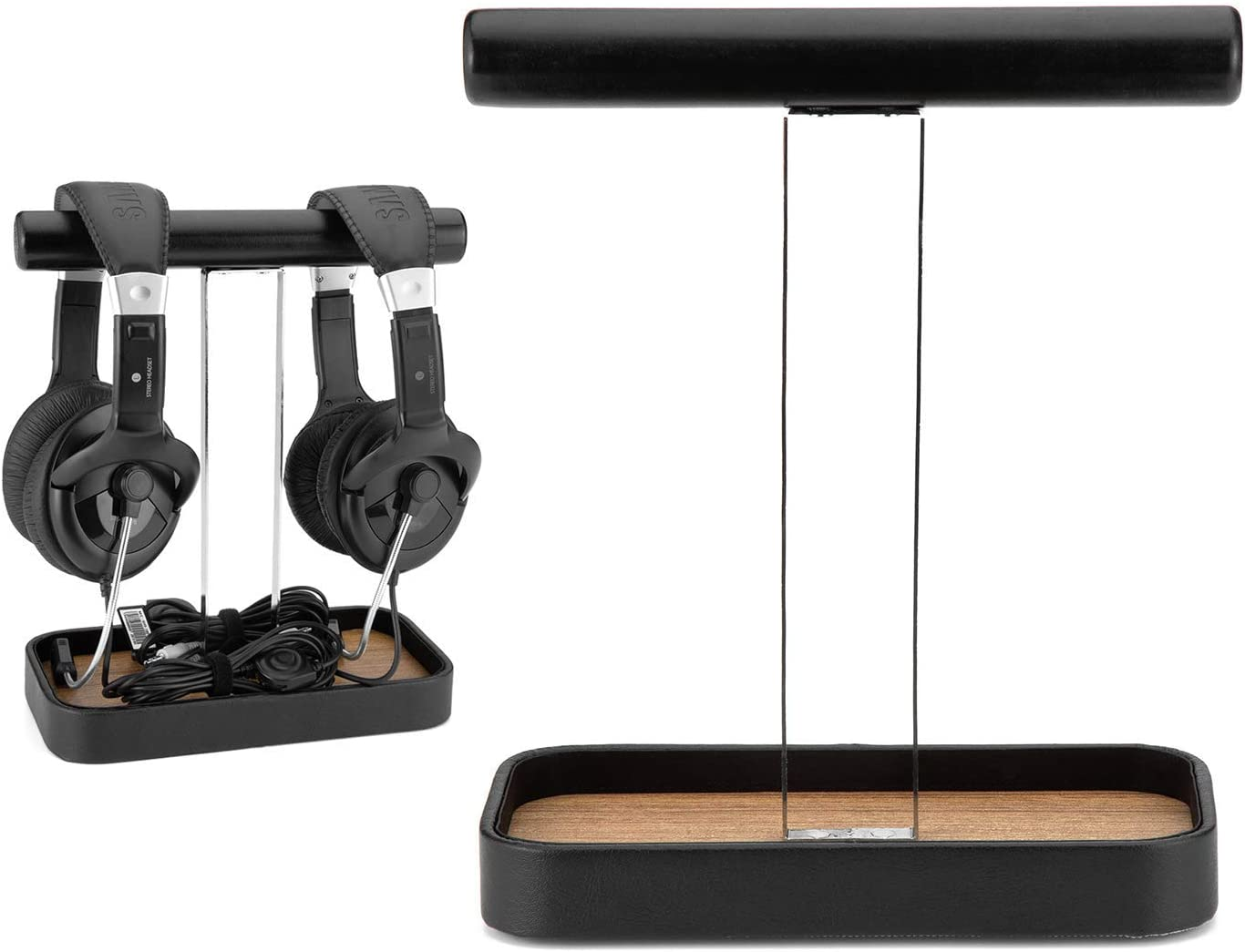 JackCubeDesign's Headphone Stand Dual Headset Holder Display Earphone Hanger Rack Support for 2 Headphones with Bamboo Tray and Cable Holder(8.3 x 4.3 x 10.4 inches) – :MK118S
