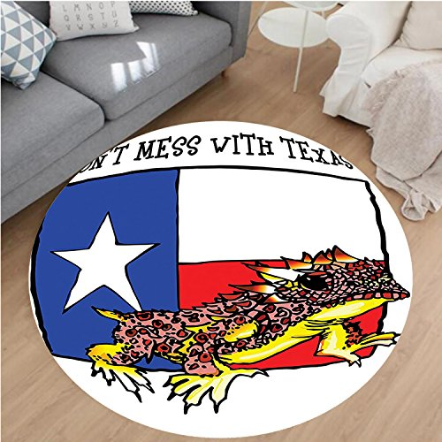 """Nalahome Modern Flannel Microfiber Non-Slip Machine Washable Round Area Rug-ration Of Cute Warrior Horned Toad Standing For Texas City American Dream Wild Home Multi area rugs Home Decor-Round 32"""""""