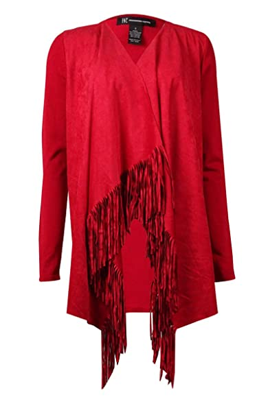 INC Womens Faux Suede Fringe Cardigan Sweater Red S at Amazon ...