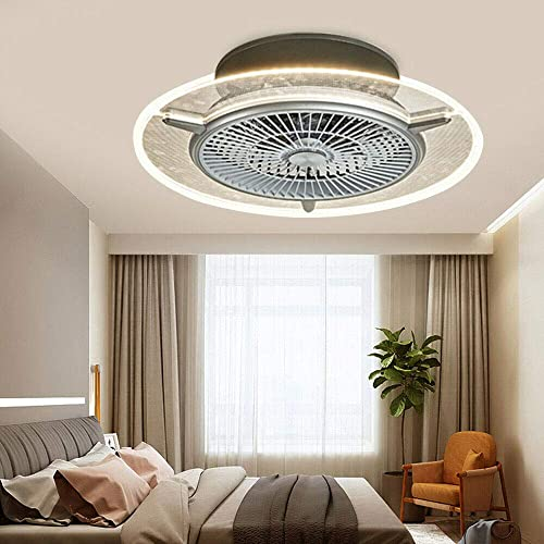 Modern Invisible Fan LED Light Chandelier Indoor LED Ceiling Light Lamp Chandelier Remote Control 110V 3 Speed 48W Fan Light Tricolor Dimming USA STOCK