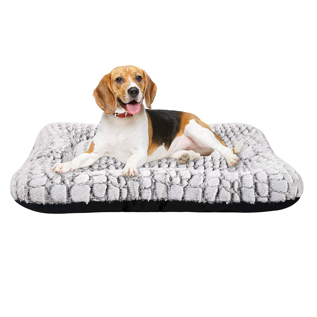 Coohom Deluxe Plush Dog Bed Pet Cushion Crate Mat,Washable Pet Bed for Medium Large Dogs and Dogs Crates(Medium,White)