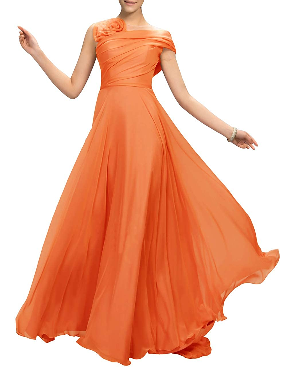 orange Uther Flower Long Prom Dress ALine Bridesmaid Dresses Formal Evening Party Gown