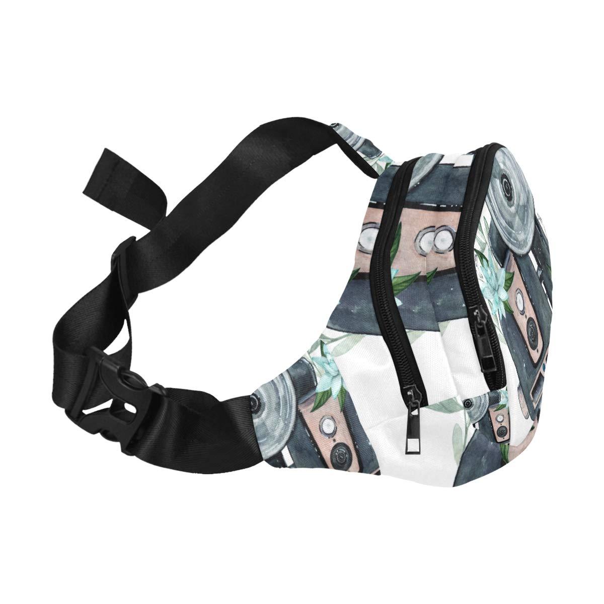 Vintage Retro Watercolor Camera Fenny Packs Waist Bags Adjustable Belt Waterproof Nylon Travel Running Sport Vacation Party For Men Women Boys Girls Kids