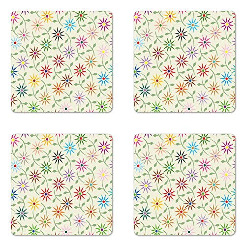 Garden Coasters Botanic Square - Ambesonne Floral Coaster Set of Four, Abstract Colorful Graphic Flowers with Leaves Repeating Pattern Botanic Garden Art, Square Hardboard Gloss Coasters for Drinks, Multicolor
