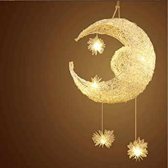 Egomall Mond Stern Pendelleuchten Kronleuchter Kreative Deckenleuchte Mit 5  Leuchten Für Kinder Schlafzimmer Wohnzimmer