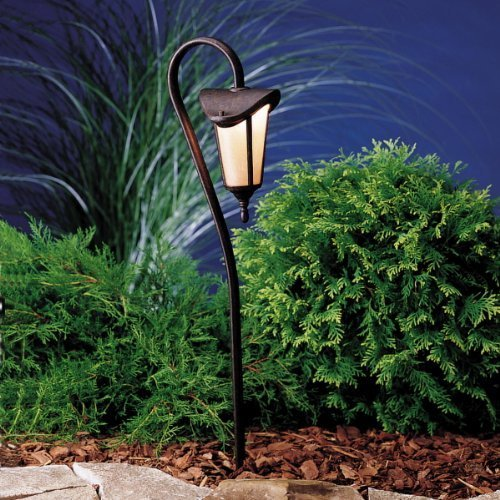 (KICHLER 15313TZG Lafayette Lantern 1LT Incandescent/LED Hybrid Low Voltage Landscape Path and Spread Light, Tannery Bronze with Gold Accents and Linen Seedy Glass)
