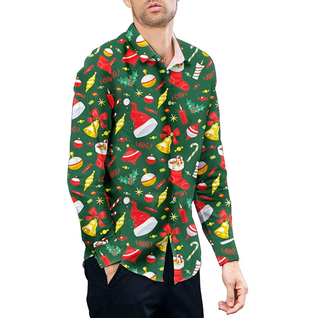 Fxbar Christmas Shirt Top Blouse Couple Casual Christmas Printed Shirt (GreenA,M) by Fxbar
