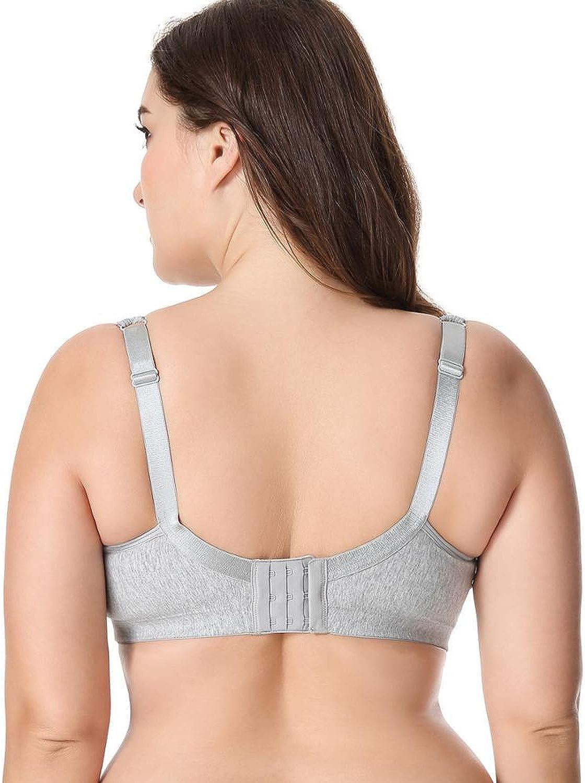Lace Trim Full Coverage Cotton Wirefree Bra Plus Size