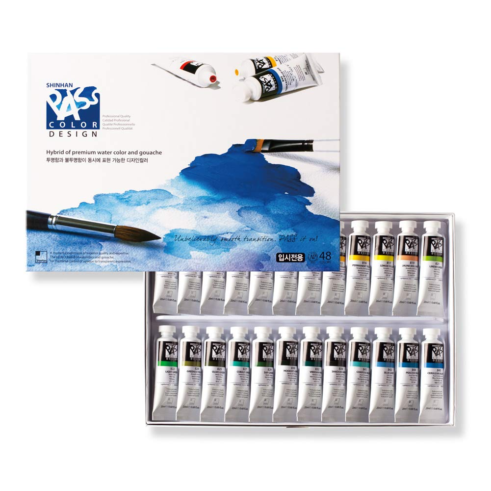 Shinhan Pass Design Color Hybrid of Watercolors and Gouache 20ml Tubes 48 Color Set by ShinHan