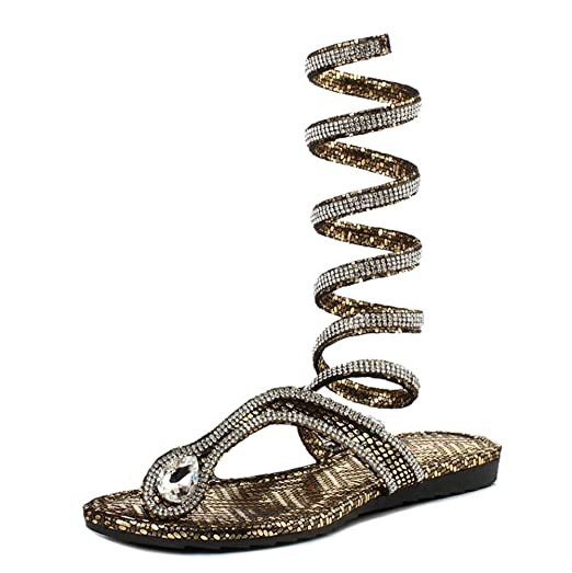 Women's Snake-wound Strap Flat Sandals Cz Clip Toe Roman Sandals