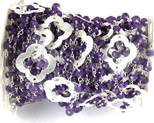 10 Feet Amethyst Clover Charm Rosary Style Necklace Making Silver Plated Chain Wire Wrapped Beads, Rosary, Rosary Beads, Rosary Chains, Beaded Rosary, Rosary