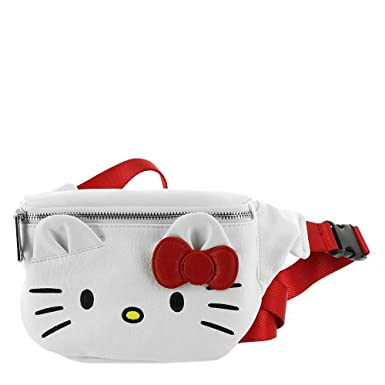 de424237c Amazon.com: Loungefly Hello Kitty Faux Leather Fanny Pack, White-red ...