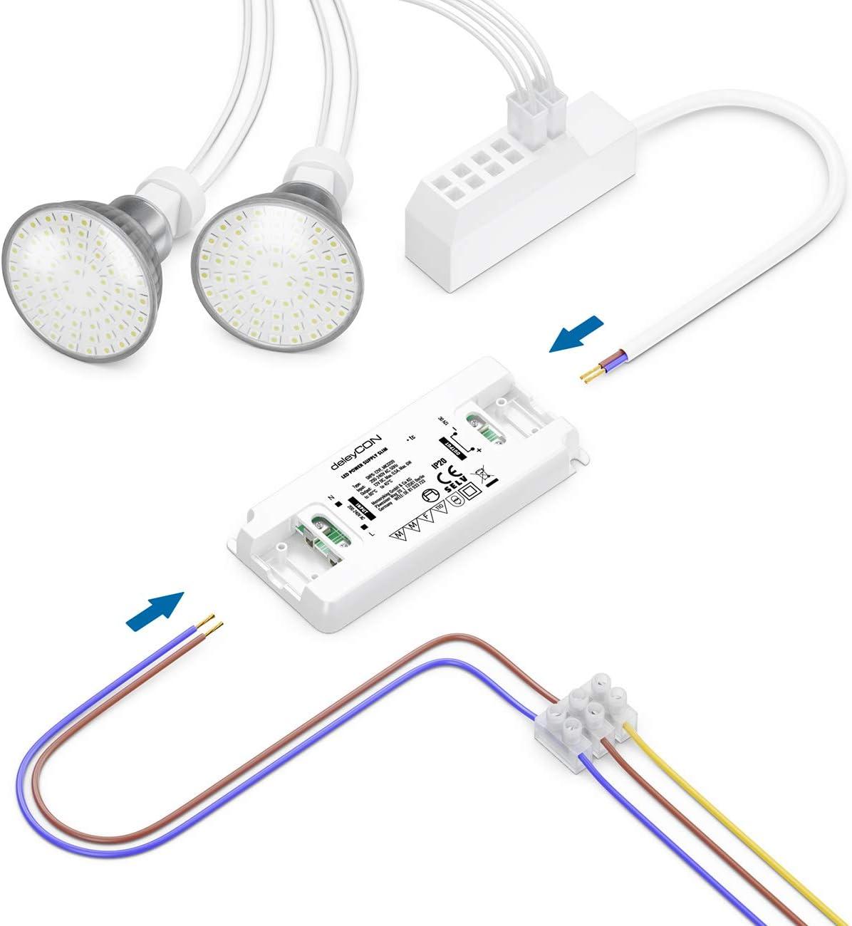deleyCON 12V LED Trafo Transformator Netzteil Slim 0-30W 200-240V zu 12V DC LED Lampen Lichtstreifen G4 MR11 MR16 Leuchten /Überladung /Überhitzung