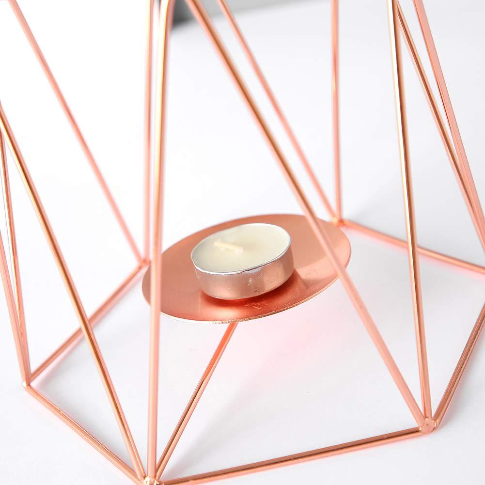 junshi11 Household Fashion Iron Hexagon Candle Holder Stand Candlestick Bracket Home Desktop Decor Iron Art Home-improving Accessory Golden1 S