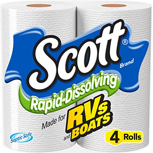 Scott Rapid-Dissolving Toilet Paper, Bath Tissue for RV & Boats , 4ct packs X 12= 48 rolls (Scott 4pk Rapid Dissolving Rv Bath Tissue)