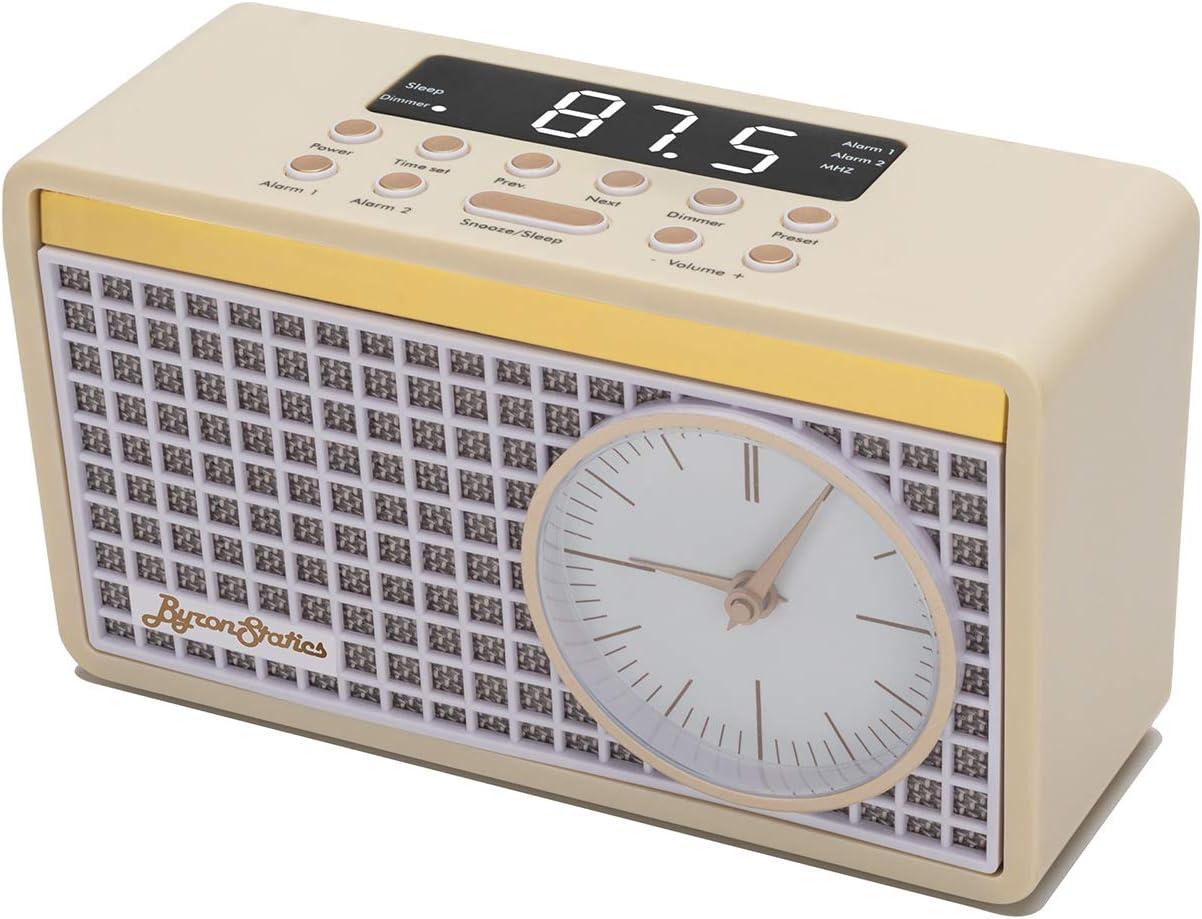 Byron Statics Clock Radio FM Radio Digital Alarm Clock Sleep Timer Dimmer Preset Station Retro Clock Snooze Function Heavy Sleepers Backup Battery Keep Time Accurate Bedroom Home Nightstand Kitchen