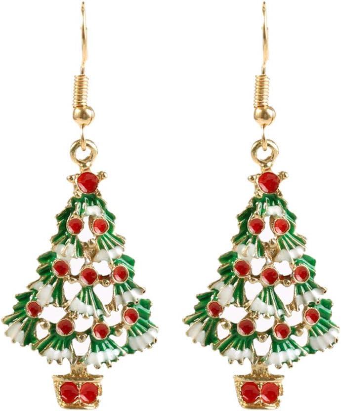 Toyvian 1 par de Pendientes de árbol de Navidad - Decoración navideña Pendientes de Diamantes de imitación Brillantes Pendientes de botón para Damas niñas