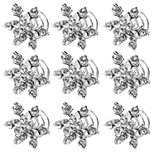 Elisona-10 PCS Rhinestone Snowflake Shape Spiral Hair Clips Pin Bridal Wedding Hair Accessories White