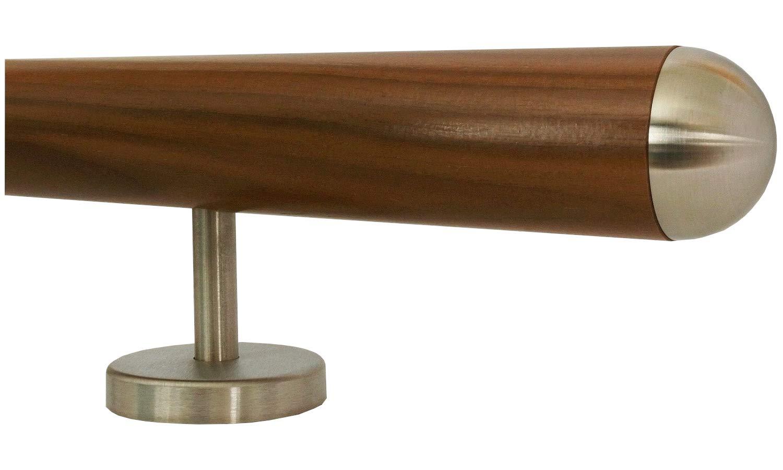 Nussbaum Gel/änder Handlauf Treppe Holz Griff gerade Edelstahlhalter L/änge 30-500 cm aus einem St/ück//zum Beispiel L/änge 30 cm mit 2 gerade Halter Enden = gefast