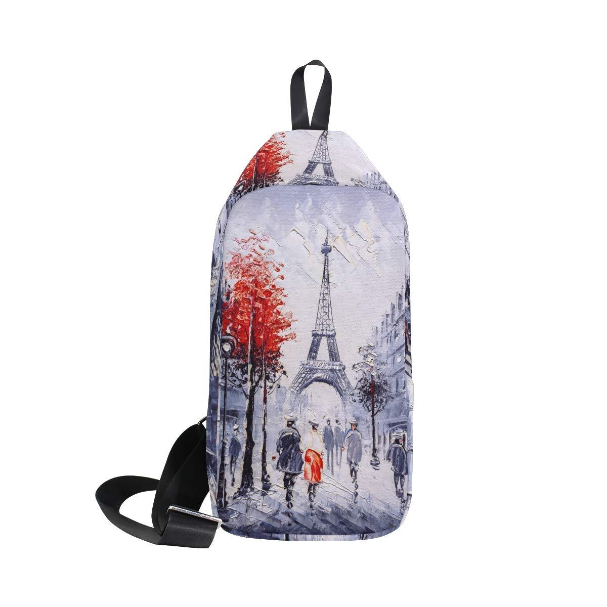 TFONE Watercolor Paris Eiffel Tower Crossbody Bag Lightweight Chest Shoulder Messenger Pack Backpack Sling Bag