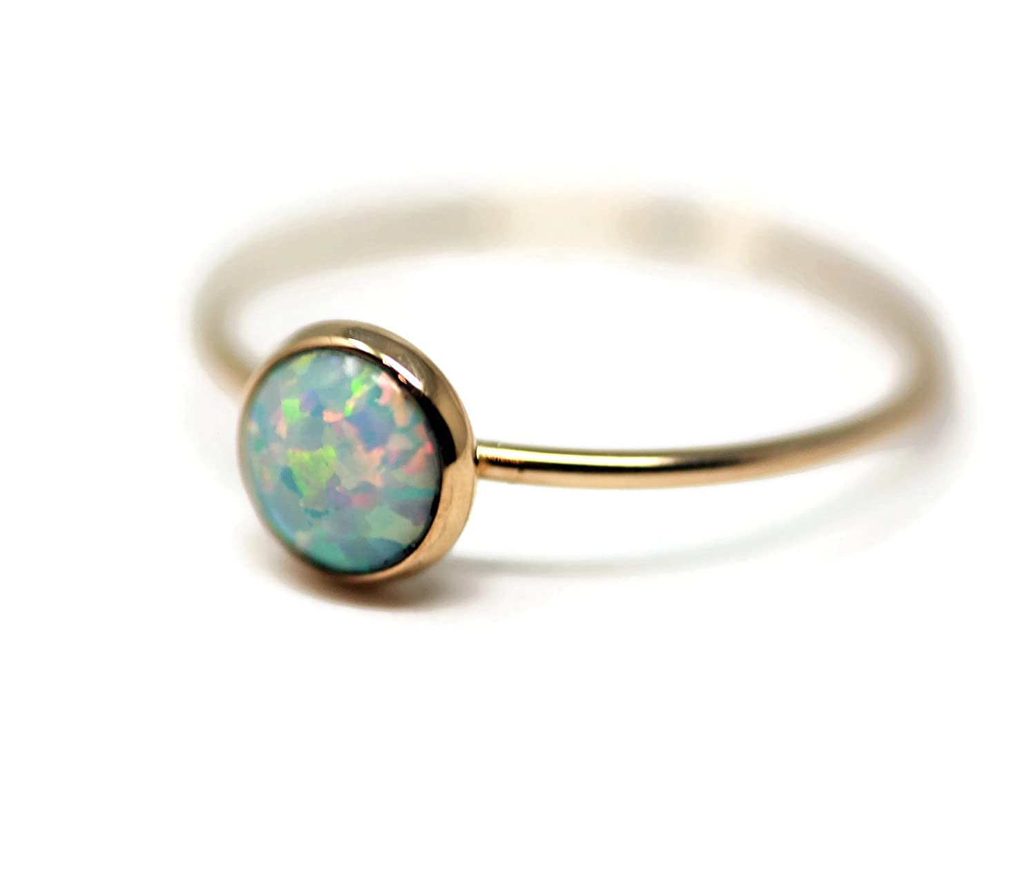 Round 6 mm Created Opal and 14K Gold Filled Skinny Ring Size 5,6,7,8