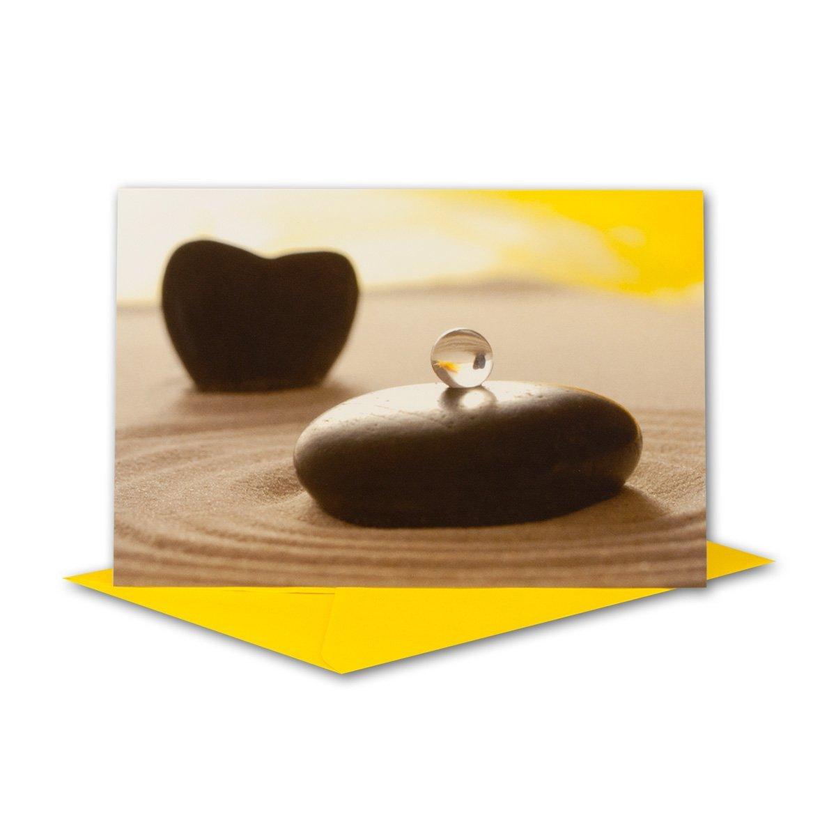 Glückwunschkarten Set I Stein mit Murmel Murmel Murmel auf Sand mit gelbem Umschlag I 60 Stück I B6 17,0 x 11,5cm I klappbare Grußkarte für jeden Anlass I ob Geburt I Taufe I Kommunion oder Hochzeit - Geburtstagskarte B07G397SNY   Vollständige Spez 274d9e