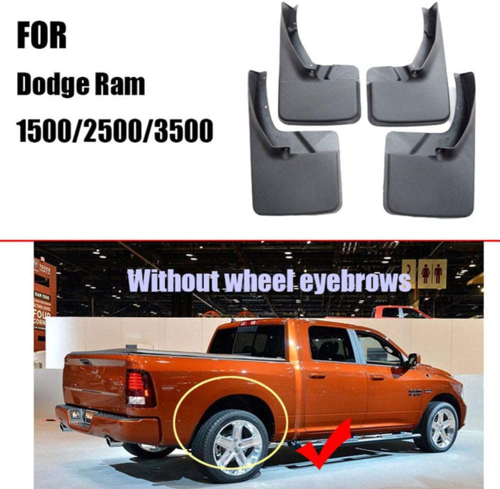 Verbesserte Fender Styling /& Body Fittings Mud Flaps,WithWheelEyebrow F/ür Dodge Ram 1500 2500 3500 2009-2018 Vorne Hinten Spritzschutz Set Schrauben 4Pcs Schmutzf/änger Gummi Kotfl/ügel Schwarz