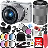 Canon EOS M100 24.2MP Mirrorless Camera (White) with EF-M 15-45mm And EF-M 55-200mm f/4.5-6.3 IS STM Lens (Silver) Plus 32GB Accessories Bundle
