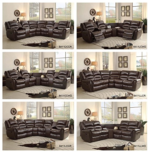 Amazon.com Homelegance 3 Piece Bonded Leather Sectional Reclining Nail Head Accent Sofa with 2 Cup Holders Console Brown Kitchen u0026 Dining : sectional cup holder - Sectionals, Sofas & Couches