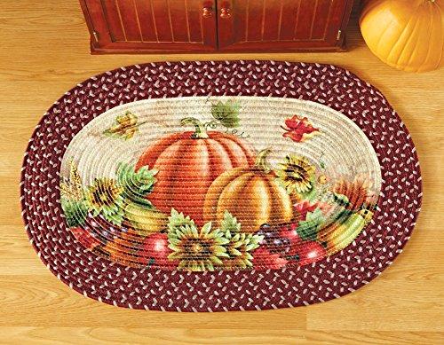 [해외]가을 호박 패치 꼰 깔개/Autumn Pumpkin Patch Braided Rug