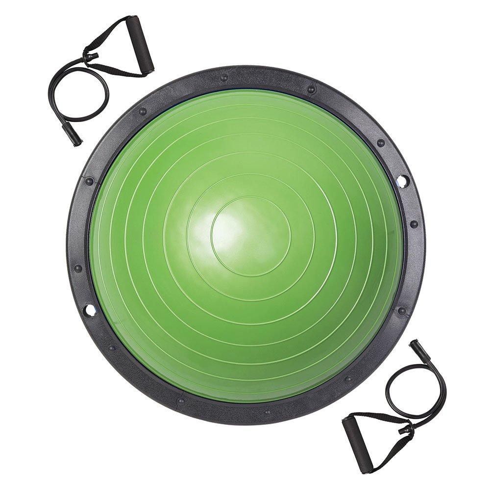 LeeMas Inc Green 23 Inch Yoga Balance Trainer Half Ball w/ 2 Elastic Strings & Air Pump for Home Gym Core Training Fitness Ab Strength Workouts