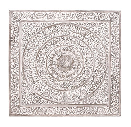 Deco 79 Wood Carved Wall Panel, 60 by 60