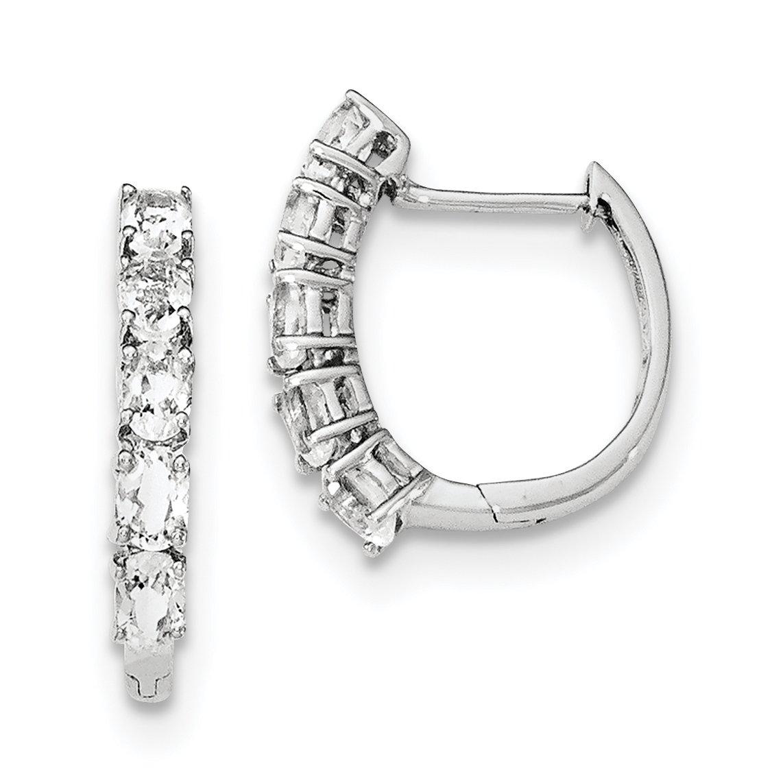 ICE CARATS 925 Sterling Silver White Topaz Hinged Hoop Earrings Ear Hoops Set Fine Jewelry Gift Set For Women Heart