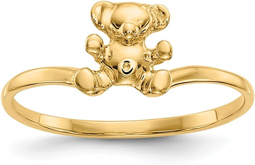 14K Yellow Gold Childs Teddy Bear Band Ring Size 5.00 Baby Fine Jewelry für Women Gifts für Her