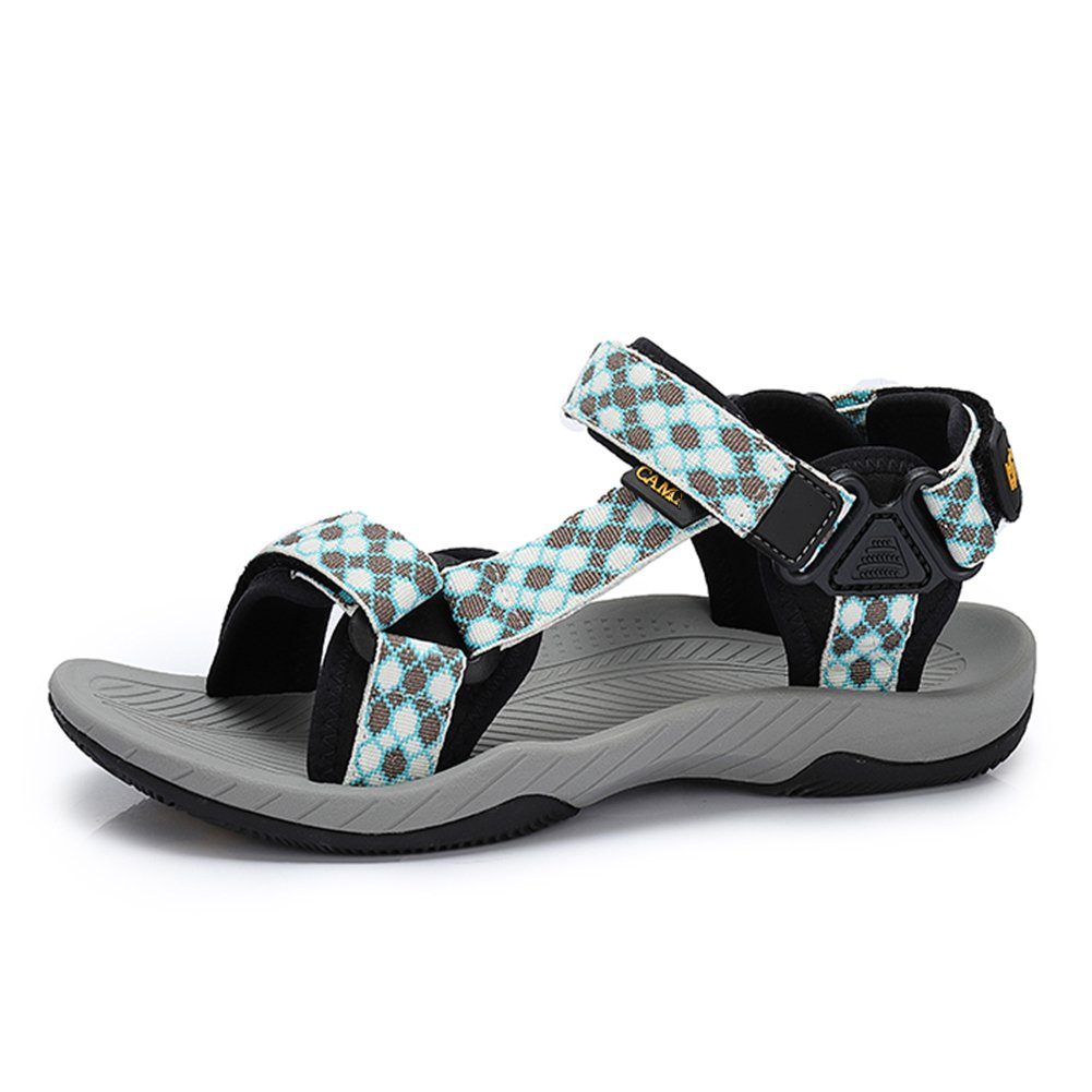 94e7b3c610f Buena QIANGDA-shoes QIANDA Mujer Sandalias Zapatos De Verano Talón Plano  Correas De Velcro Durable