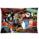 Fashion Pillow CoverCustom Broadway Musical Collage Home Decorative Pillowcase Pillow Case Cover 20*30 Two Sides Print