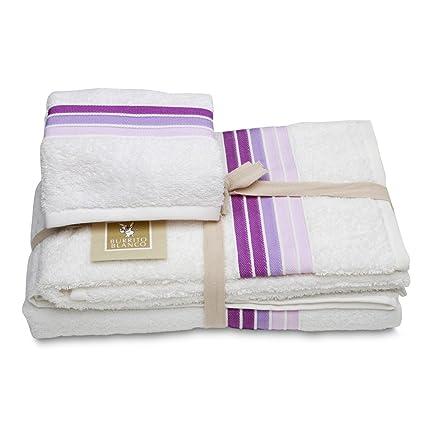 Burrito Blanco - Juego de toallas 97 blanco de 30x50, 50x100 y 70x140 cm