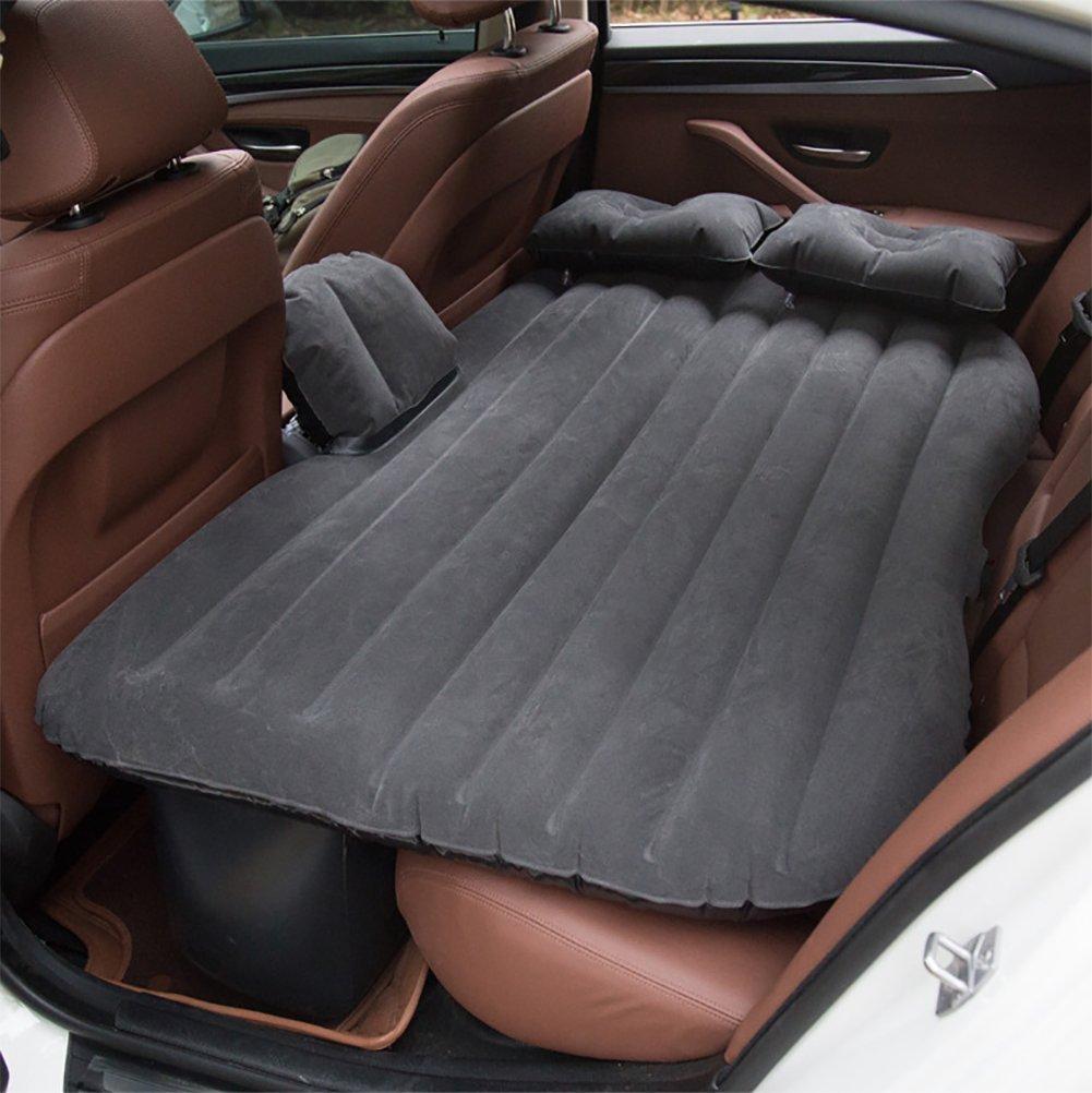 noir  XOXO Voiture Matelas arrière rangée siège PVC Flocage Air lit Voiture et SUV Universel lit Double (gonfleur électrique Gratuit Oreiller × 2)