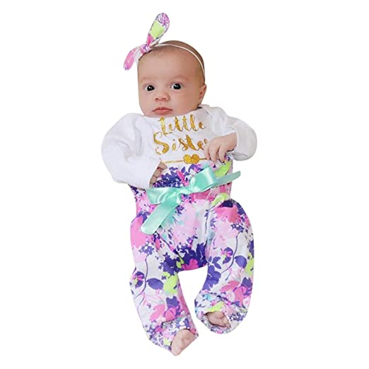 48b8533b0249c 24Months Baby Girls Floral Clothes Set Casual Long Sleeve Flower Romper Tops  Pants Big Knotbow Headband