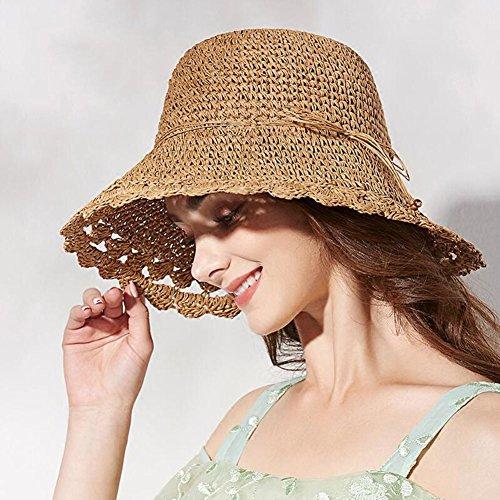 Playa Al Lz Mz024 Para Aire Mano De Beige Home Borde Paja El Claro Ancho Oscuro Sombrero Azul Anti Sol Hecho uv Oscuro A color Sombreros Suave Mujer Libre Ajustable Bronceado Chica rqHUnrR