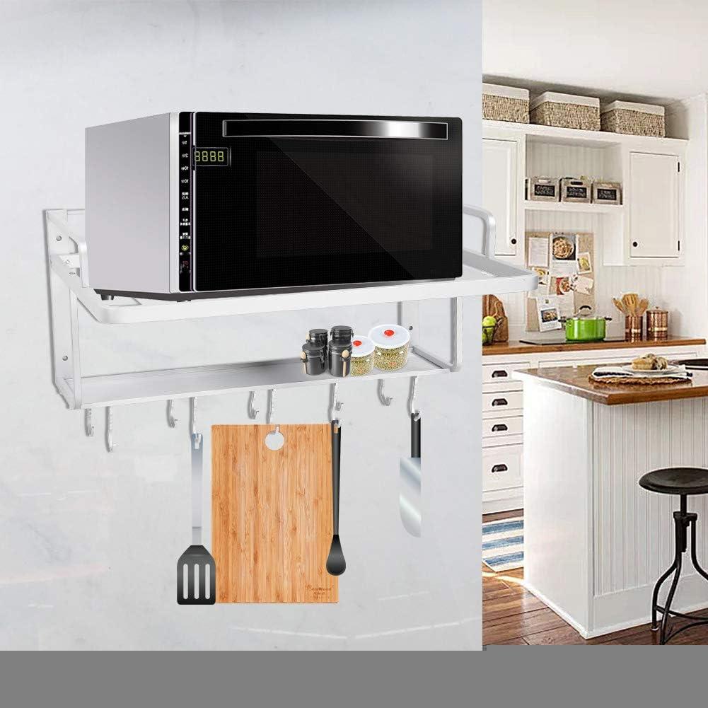 Etag/ère murale /à Micro Ondes Support de four /à double couche en aluminium Support Mural de Rangement Cuisine spatial suspendu bon assistant dans la cuisine